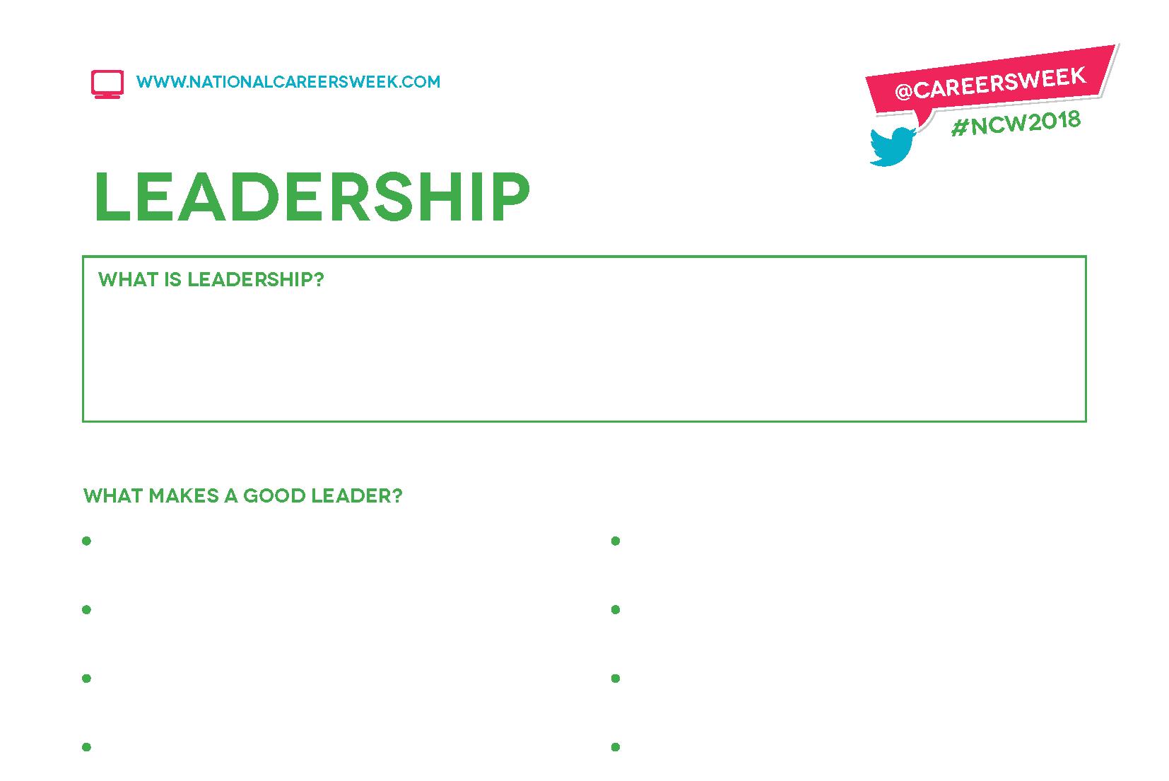 Worksheets Leadership Worksheets ncw 2018 key qualities worksheets national careers week worksheets